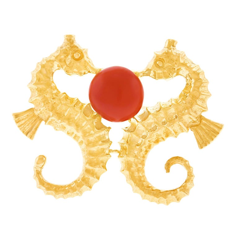 Coral Set Seahorse Brooch For Sale