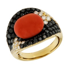 Coral Set with Black/White Diamonds 18 Karat Yellow Gold Ring Made in Italy