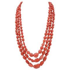 Coral, Silver Closure Multi-Strands Necklace