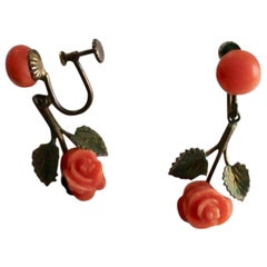 Coral Silver Vintage Earrings with Carved Roses circa 1950