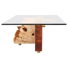 Coral Slab with Quartz Particles, Brass and Mahogany Block Coffee-Center Table