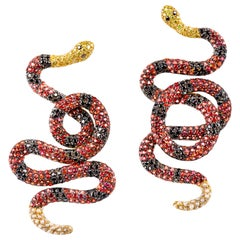 """Coral Snake"" Earrings in 19.2 Karat Yellow Gold, Diamonds and Sapphires"