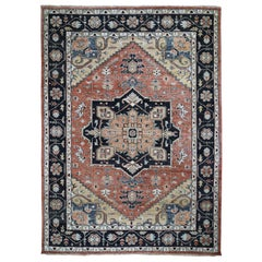 Coral Supple Collection Heriz Design Soft Wool Hand Knotted Oriental Rug