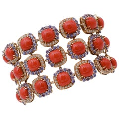 Coral, Tanzanite, Diamonds, 14 Karat Rose Gold Bracelet