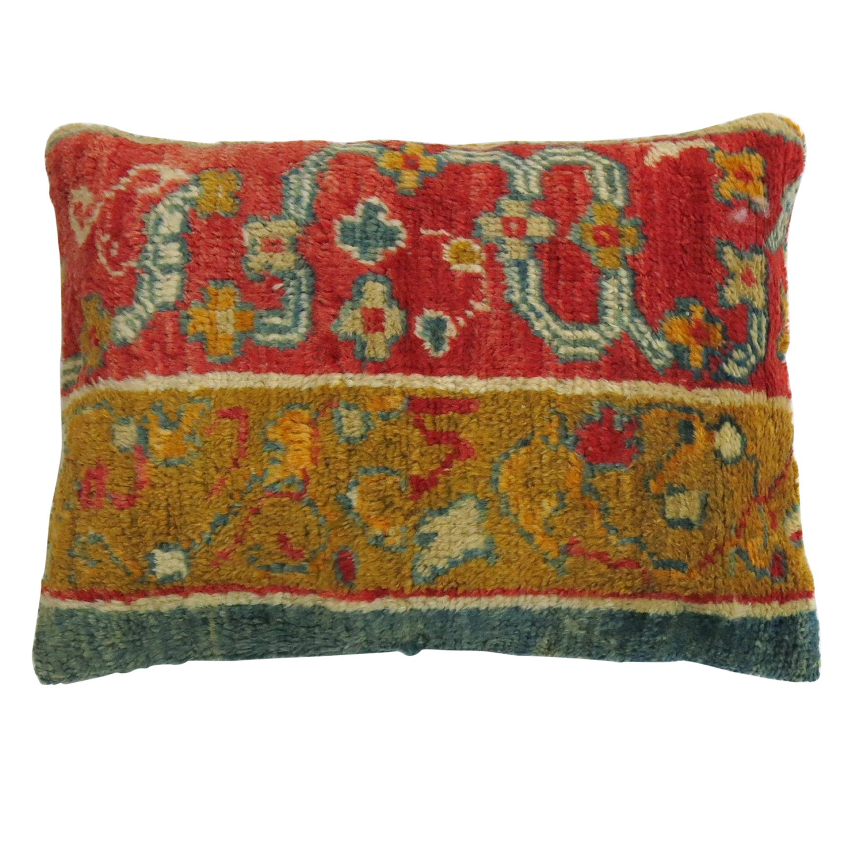 Coral Teal Early 20th Century Wool Antique Oushak Border Rug Pillow