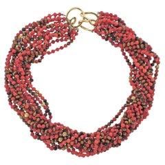 Coral Tiger's Eye Bead Gold Torsade Necklace