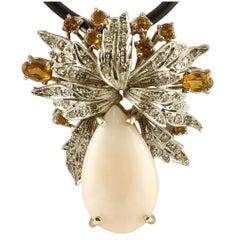 Coral Topaz Diamond Gold Pendant