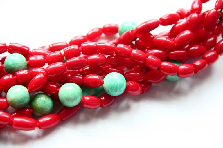 Coral Turquoise Amazonite Choker Necklace For Sale 5