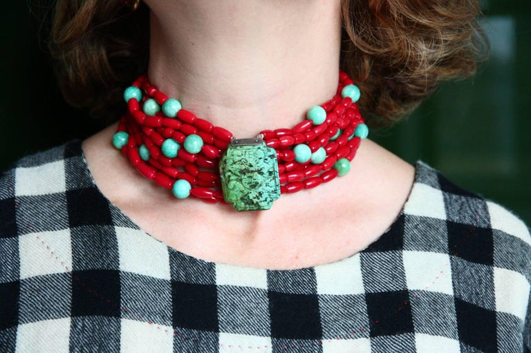 Special multi strain choker,  red coral with amazonite beads central antiques  very rare engrave Tibetan turquoise. Total length 38 cm, if need we can adjust the measure according to your needs. Bronze linked. All Giulia Colussi jewelry is new and