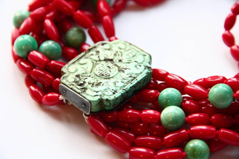 Coral Turquoise Amazonite Choker Necklace In New Condition For Sale In Milan, IT