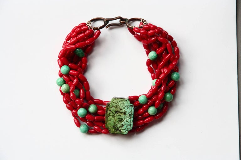 Coral Turquoise Amazonite Choker Necklace For Sale 3