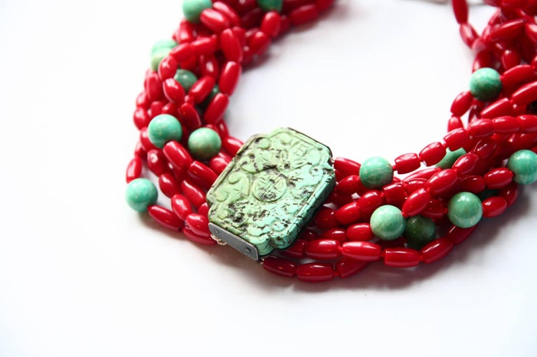 Coral Turquoise Amazonite Choker Necklace For Sale 4
