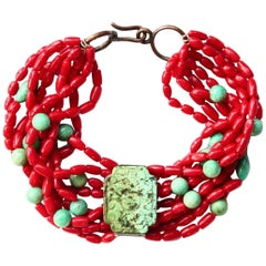 Coral Turquoise Amazonite Choker Necklace