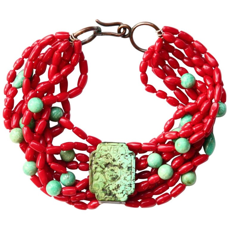 Coral Turquoise Amazonite Choker Necklace For Sale