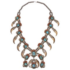 Coral, Turquoise and Bear Claw Necklace