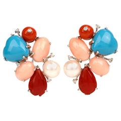 Coral Turquoise Diamond Multi-Stone Cluster Gold Earrings