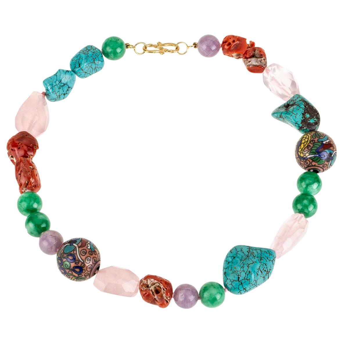 Coral Turquoise Jade Necklace 18 Karat Gold
