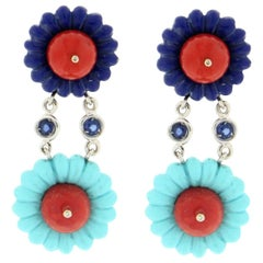 Coral, Turquoise, Lapis 18 Karat White Gold Sapphires Drop Earrings