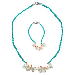 Coral Turquoise Mother of Pearl Sterling Silver Beaded Bracelet Necklace