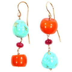 Coral Turquoise Ruby Rose Gold Earrings Handcrafted in Italy by Botta Gioielli