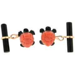 Coral Turtle 18 Karat Yellow Gold, Onyx Barrel Cufflinks