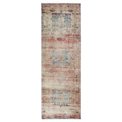 Coral Vintage and Worn Down Persian Heriz Hand Knotted Runner Oriental Rug