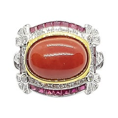 Coral with Ruby and Diamond Ring Set in 18 Karat White Gold Settings