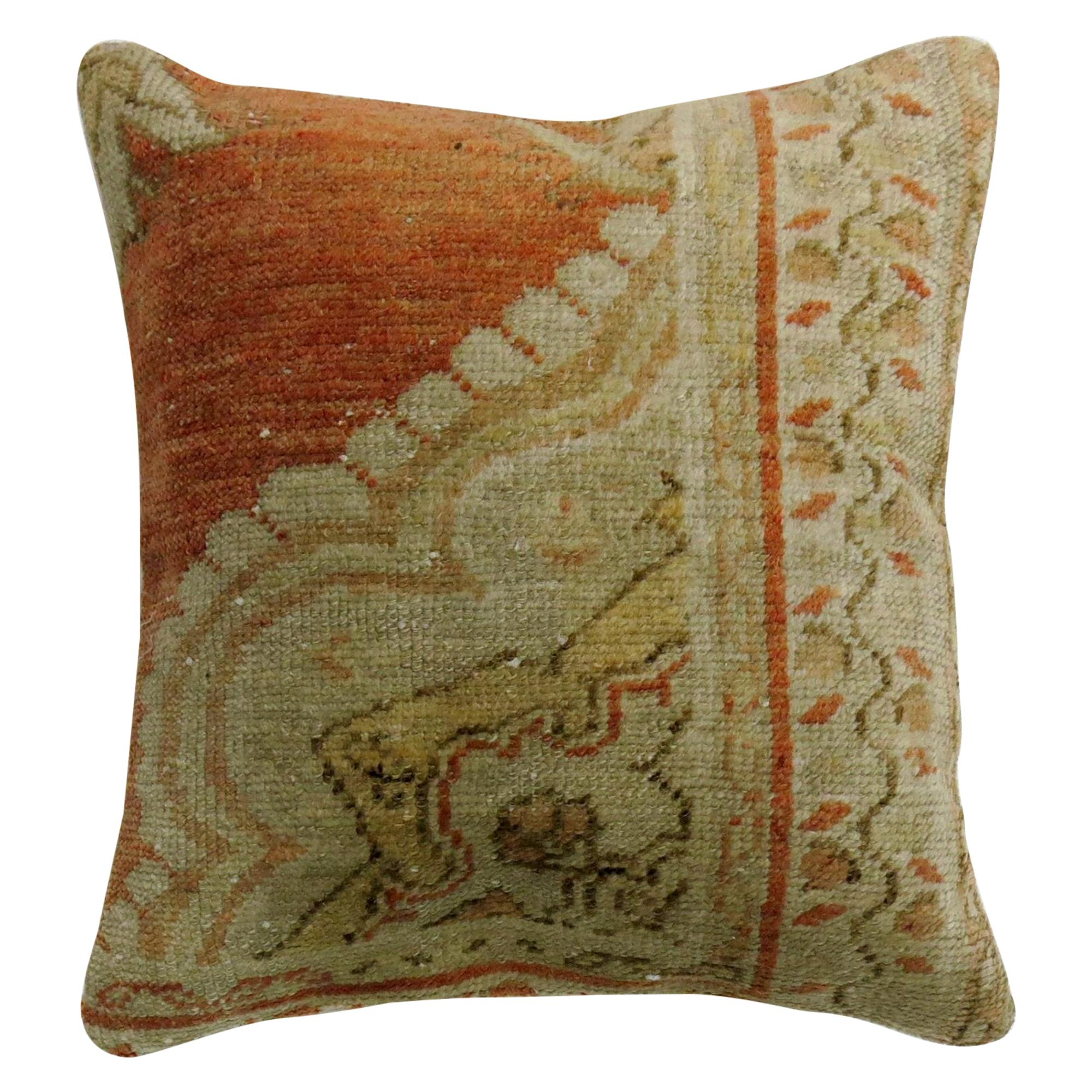 Coral Wool Pillow from a 20th Century Turkish Oushak Rug