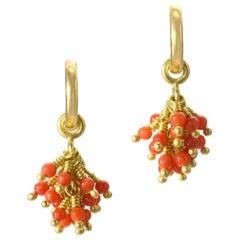 Coral Yellow Gold 22-Karat 18-Karat Gold Hoop Earrings