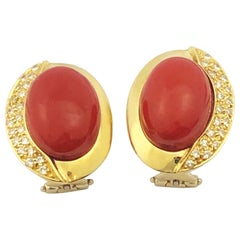 Coral Yellow Gold and Diamond Earrings