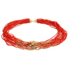 Coral Yellow Gold Beads Necklace 14 Karat