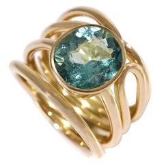 Coralie Van Caloen 18 Carat Yellow Gold Cord Turquoise Tourmaline Band Ring
