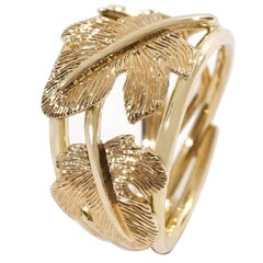 Coralie Van Caloen 18 Carat Gold Pinky Band Ring Hand Engraved Fig Leaves