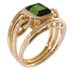 Coralie Van Caloen 18 Carat Yellow Gold Link Green Tourmaline Band Ring