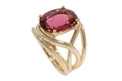 Coralie Van Caloen 18 Carat Yellow Gold Colour Changing Pink Tourmaline Ring