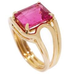 Coralie Van Caloen 18 Carat Yellow Gold Pink Rubellite Band Ring