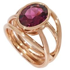 Coralie Van Caloen 18 Carat Rose Gold Cord Rhodolite Garnet Pinky Ring