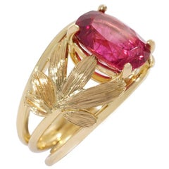Coralie Van Caloen Yellow Gold 18 Carat Palm Leaves And Pink Rubellite Band Ring