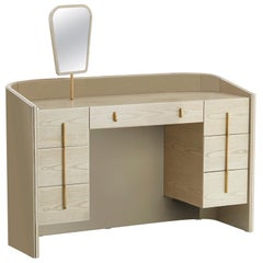 Coralina Dressing Table with Ash Avelano Drawers and Antique Brass Handles