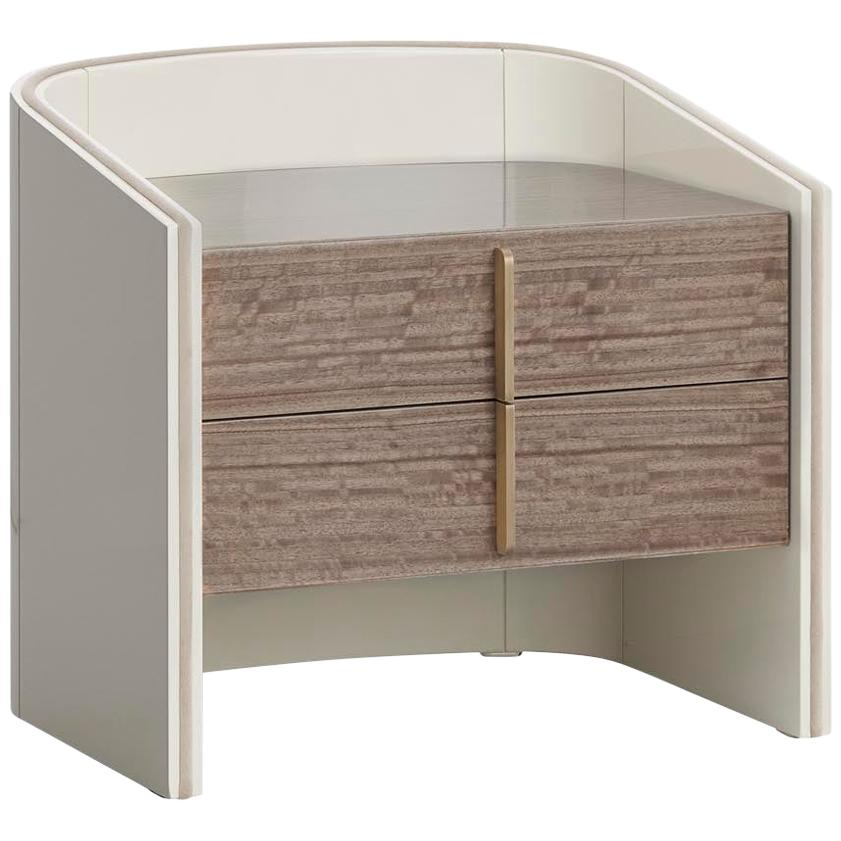 Coralina I Nightstand with Two Drawers in Eucalyptus Fumé