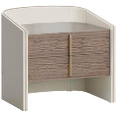 Coralina I Nightstand Glossy Lacquered Structure and Eucalyptus Fumé Drawers