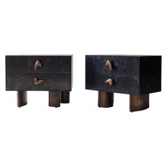 Corbu Bedside Tables by DeMuro Das in Charcoal Carta and Solid Walnut