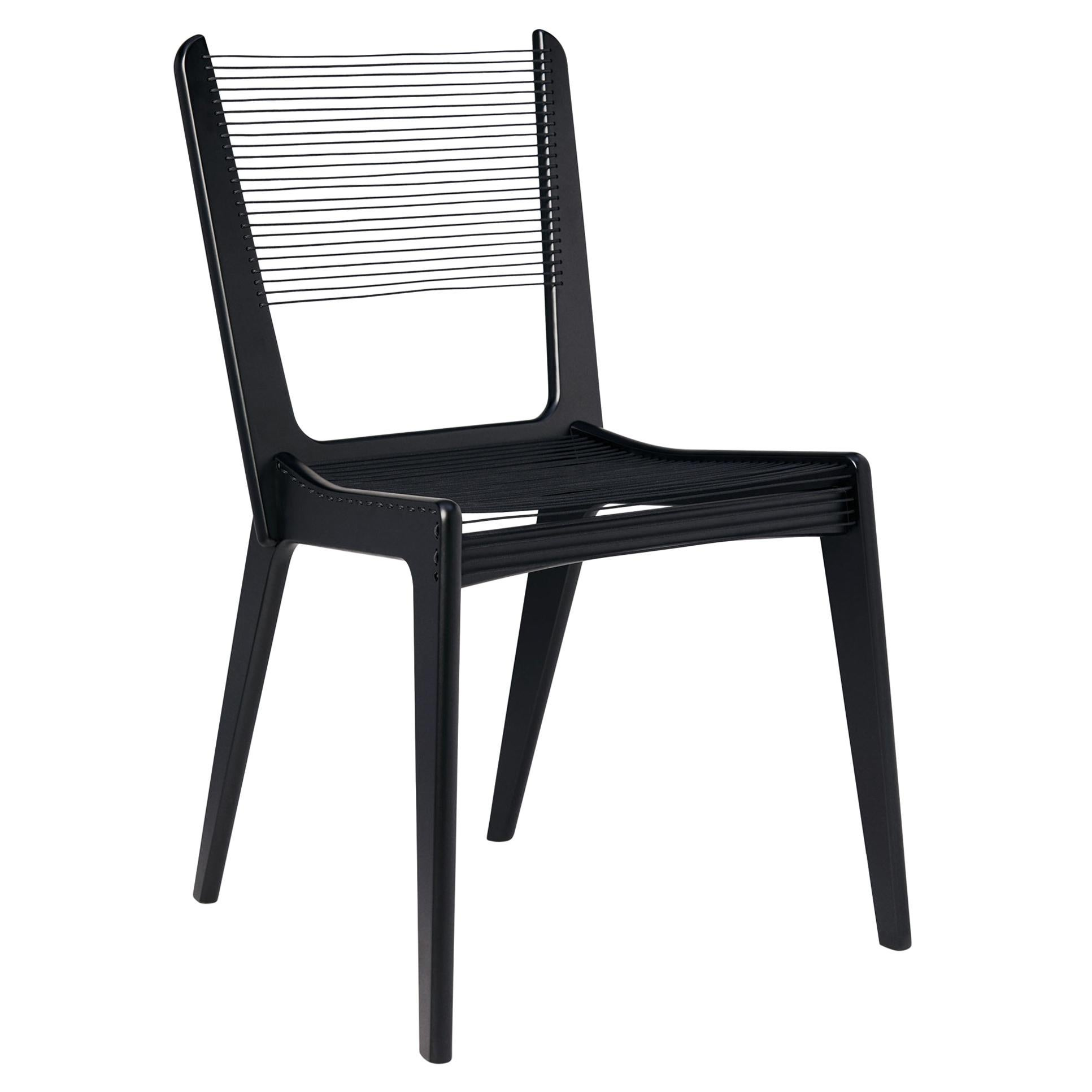 Cord Chair by Jacques Guillon in Black