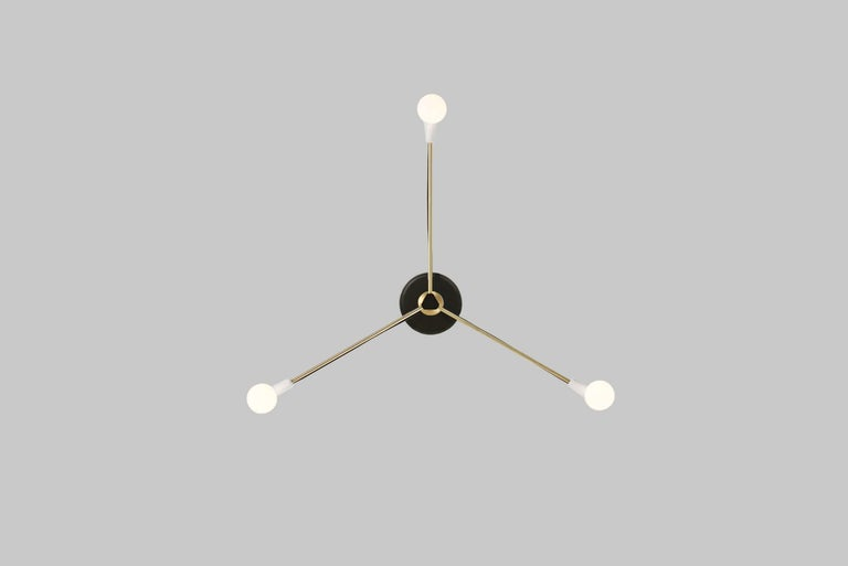 American Cord Pendant White and Brass For Sale