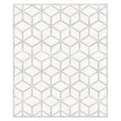 Cordelia, Graphic Beige Hand-Knotted Wool Blend-Silk Rug