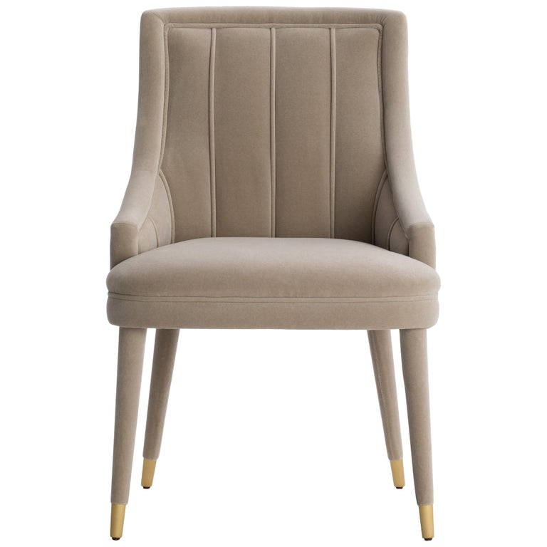 Cordoba Dining Chair with Upholstered Legs and Brushed Brass Tips For Sale