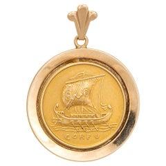 Corfu Medallion Pendant Charm Vintage 14 Karat Gold Greek Ship Sea Jewelry