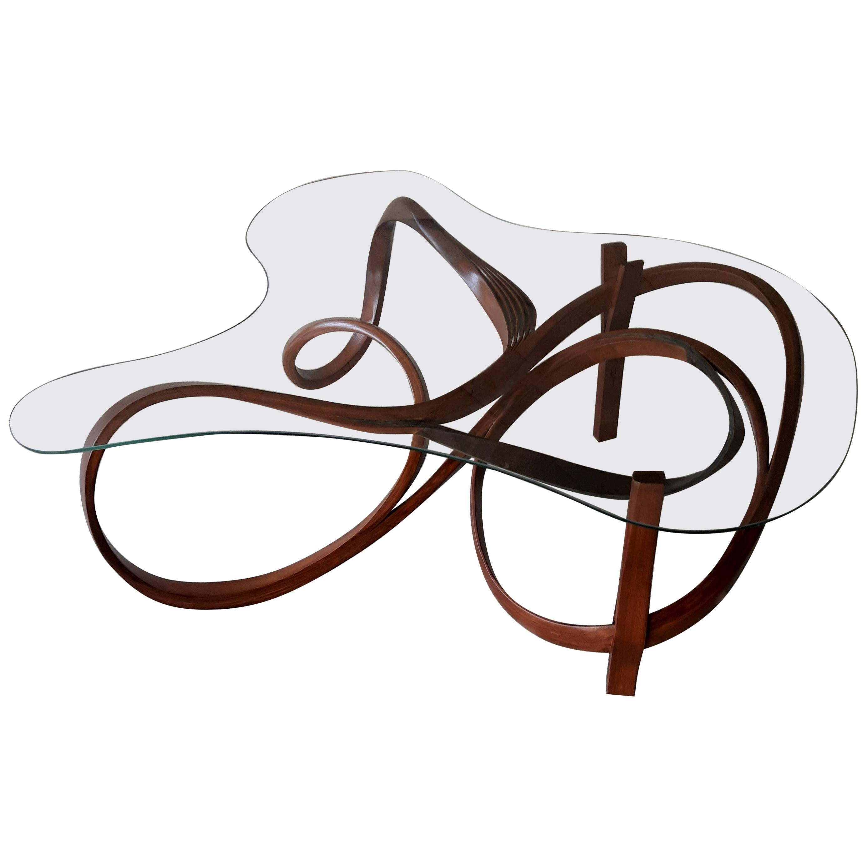 Corium, Coffee Table, Brown Bent Wood by Raka Studio