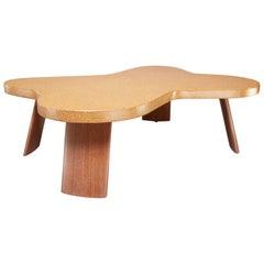 Cork and Mahogany Coffee Table