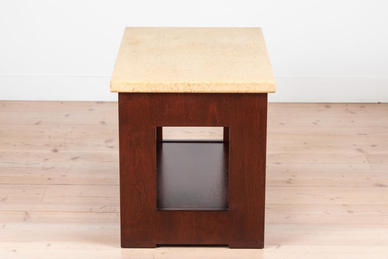 Cork and Mahogany Side Table Side Table by Paul Frankl For Sale 1